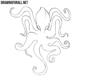easy kraken draw drawing step sea drawingforall drawings line monster monsters lesson