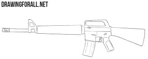 rifle draw drawing beginners easy simple sketch weapons drawingforall shapes