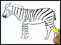 zebra drawing easy draw kid zebras cartoon step steps beginners lessons realistic tutorials children drawings tutorial paintingvalley