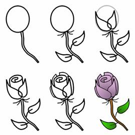 draw rose easy drawing roses tutorial things step flower cartoon stem learn drawings simple flowers steps tutorials pencil thorns line