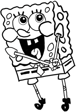 Spongebob Line Drawing : spongebob, drawing, Spongebob-16, Outline, 'right', Lines, Marker, Drawing, Tutorials