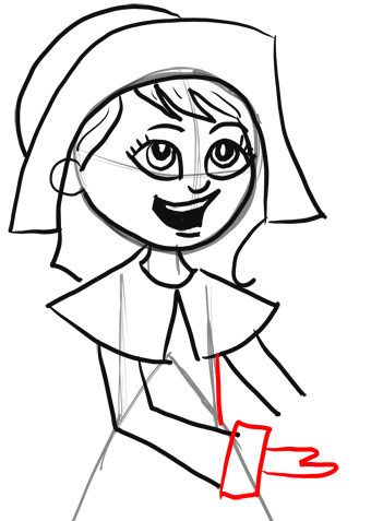 How to Draw Cartoon Pilgrim Girl for Thanksgiving Step by