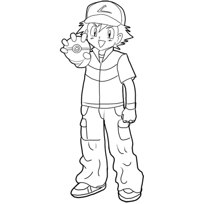 How to Draw Ash Ketchum from Pokemon : Step by Step