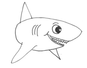 shark draw drawing sharks cartoon sketch template coloring otter step sea drawinghowtodraw