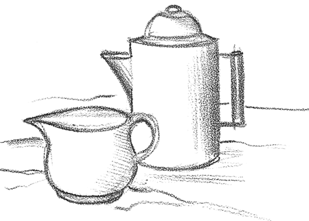 Finished Sketch and Shadowed Drawing of Coffee Caraffe Pot