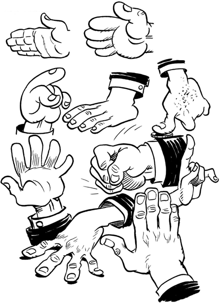 Drawing Hands : How to Draw Comic / Cartoon Hands with