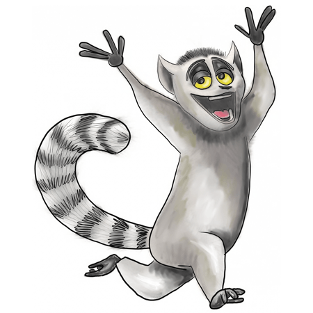 king julian coloring pages - how to draw king julian from penguins of madagascar with