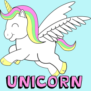 easy draw unicorns drawing step cartoon chibi lesson unicorn colorful