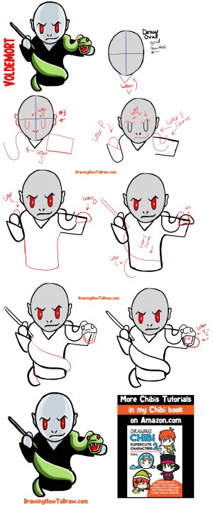 potter harry voldemort draw chibi simple steps drawing step easy characters cartoon drawings drawinghowtodraw tutorial sketches below want