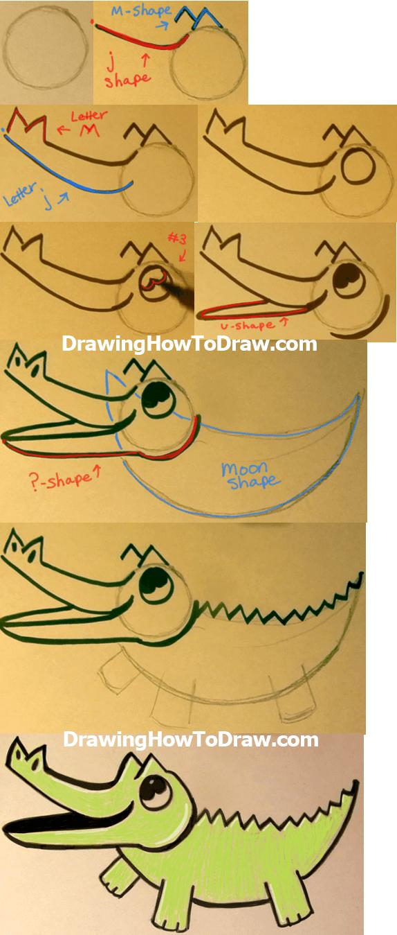 Simple Alligator Drawing : simple, alligator, drawing, Cartoon, Crocodiles, Alligators, Tutorial, Drawing, Tutorials