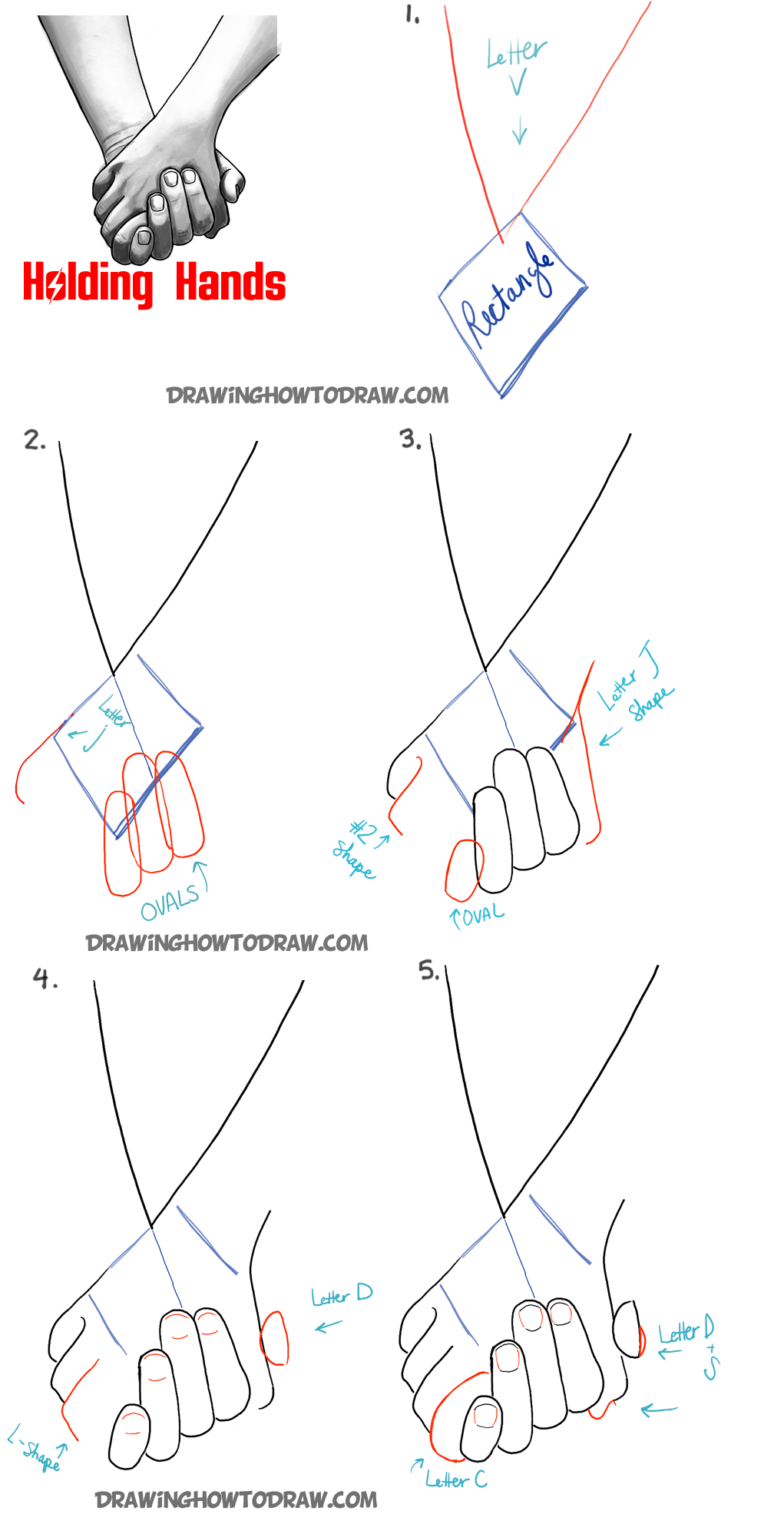 Drawing Holding Hands : drawing, holding, hands, Holding, Hands, Drawing, Tutorial, Tutorials