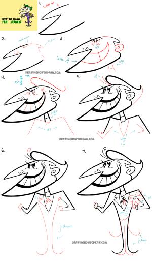 joker draw drawing easy simple retro tutorial step drawings batman tutorials joke paintingvalley