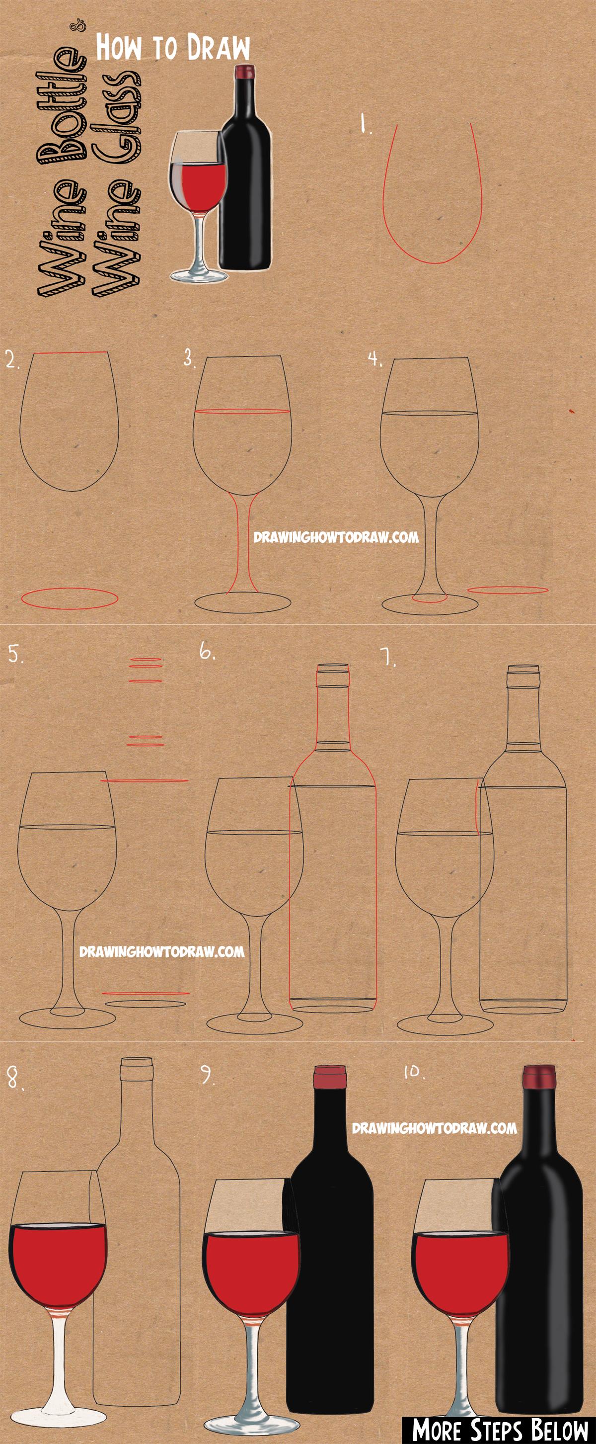 Wine Bottle Drawing Easy : bottle, drawing, Bottle, Glasses, Drawing, Tutorial, Tutorials