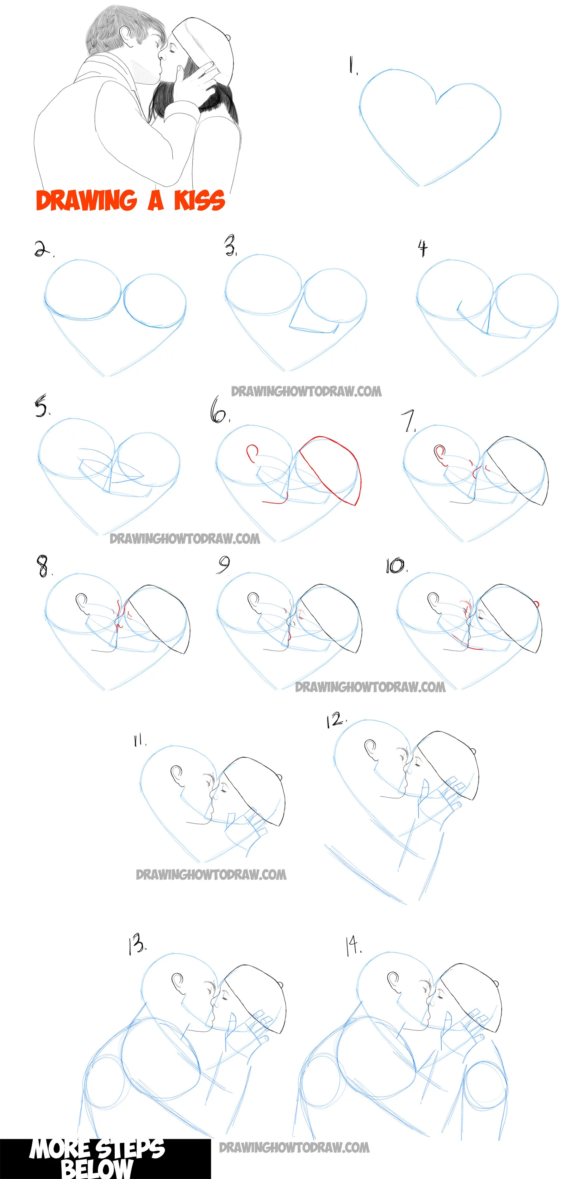 How To Draw Kisses : kisses, Romantic, Kisses, Between, Lovers, Drawing, Tutorial, Tutorials