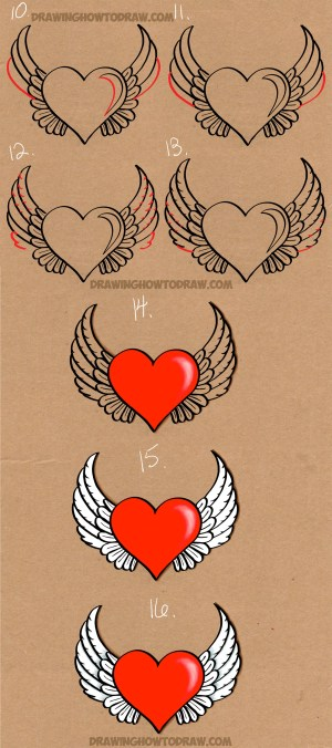 wings heart drawing step draw easy angel tutorial drawings steps sketch winged drawinghowtodraw tattoo instructions wing tutorials read getdrawings painting