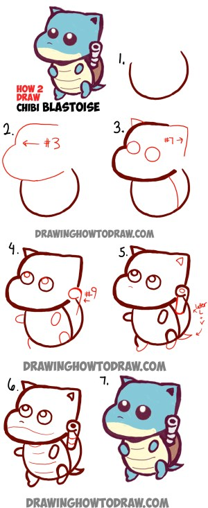 chibi easy pokemon draw drawing step tutorial blastoise drawings learn simple tutorials kawaii drawinghowtodraw lesson steps doodle characters lessons pokemons