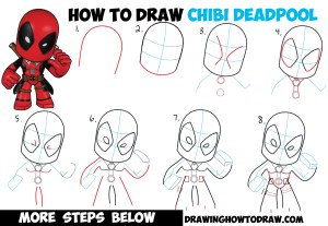 deadpool step draw chibi easy drawing simple tutorial drawings face cartoon characters tutorials marvel steps drawinghowtodraw stepstep scary cartoons learn