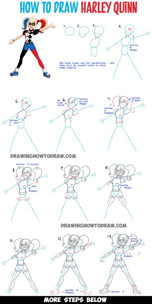 quinn harley suicide squad draw drawing easy step dc tutorial simple comic steps tutorials version learn