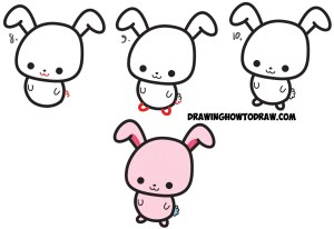 bunny step draw easy cartoon drawings drawing characters tutorial rabbit simple kawaii easter semicolons semicolon drawn steps drawingartpedia drawinghowtodraw pencil