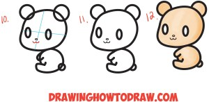 kawaii bear draw chibi drawing easy step characters cartoon teddy shapes polar beginners drawings tutorial number instructions written shape getdrawings