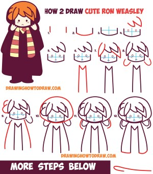 potter harry draw easy drawing step ron weasley kawaii chibi drawings tutorial steps simple sketches characters cartoon drawinghowtodraw hermione doodle