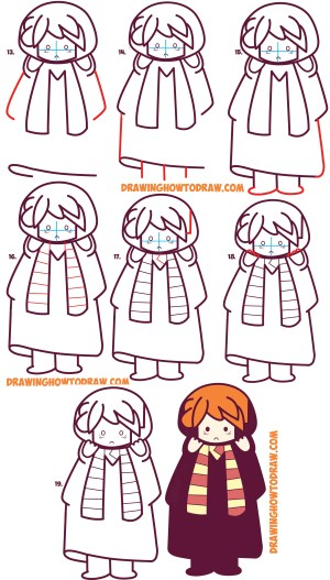 potter harry ron weasley draw easy drawing chibi kawaii step simple drawings tutorial sketch steps characters drawinghowtodraw line lessons cartoon