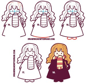 potter harry hermione easy draw drawing kawaii chibi drawings step steps tutorial characters simple sketch cartoon granger lesson drawinghowtodraw lessons
