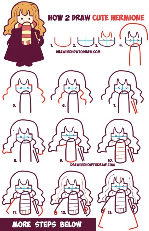 potter harry easy drawing draw hermione chibi kawaii wand steps