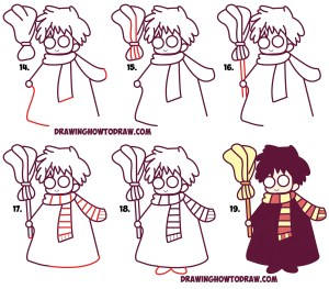 potter harry draw easy step drawing kawaii chibi drawings tutorial characters broom simple steps lesson tutorials dobby cartoon learn doodle