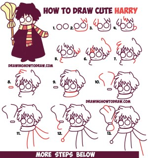easy potter harry draw drawing chibi tutorial kawaii step drawings broom