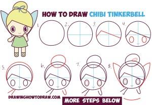 step draw disney drawings easy drawing chibi tinkerbell fairy tutorial characters kawaii cartoon dessin steps stap dessins fairies simple drawinghowtodraw