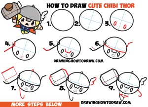 thor marvel drawing chibi comics kawaii draw easy drawings tutorial cartoon steps step coloring pages characters tutorials ragnarok simple drawinghowtodraw