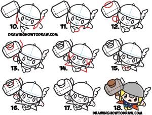 marvel thor chibi drawing kawaii comics draw easy step drawings cartoon tutorial steps simple comic characters cool superheroes super tutorials