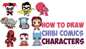 draw heroes drawing dc super comics marvel chibi easy characters cartoon kawaii step simple character steps spiderman comic drawings hero