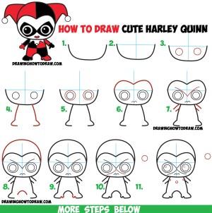 step beginners easy draw drawing chibi harley quinn comics dc tutorial simple sketches kawaii drawings characters comic dessin disney drawinghowtodraw