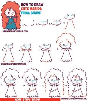 disney draw drawing kawaii chibi easy merida step brave tutorial beginners pixar simple steps