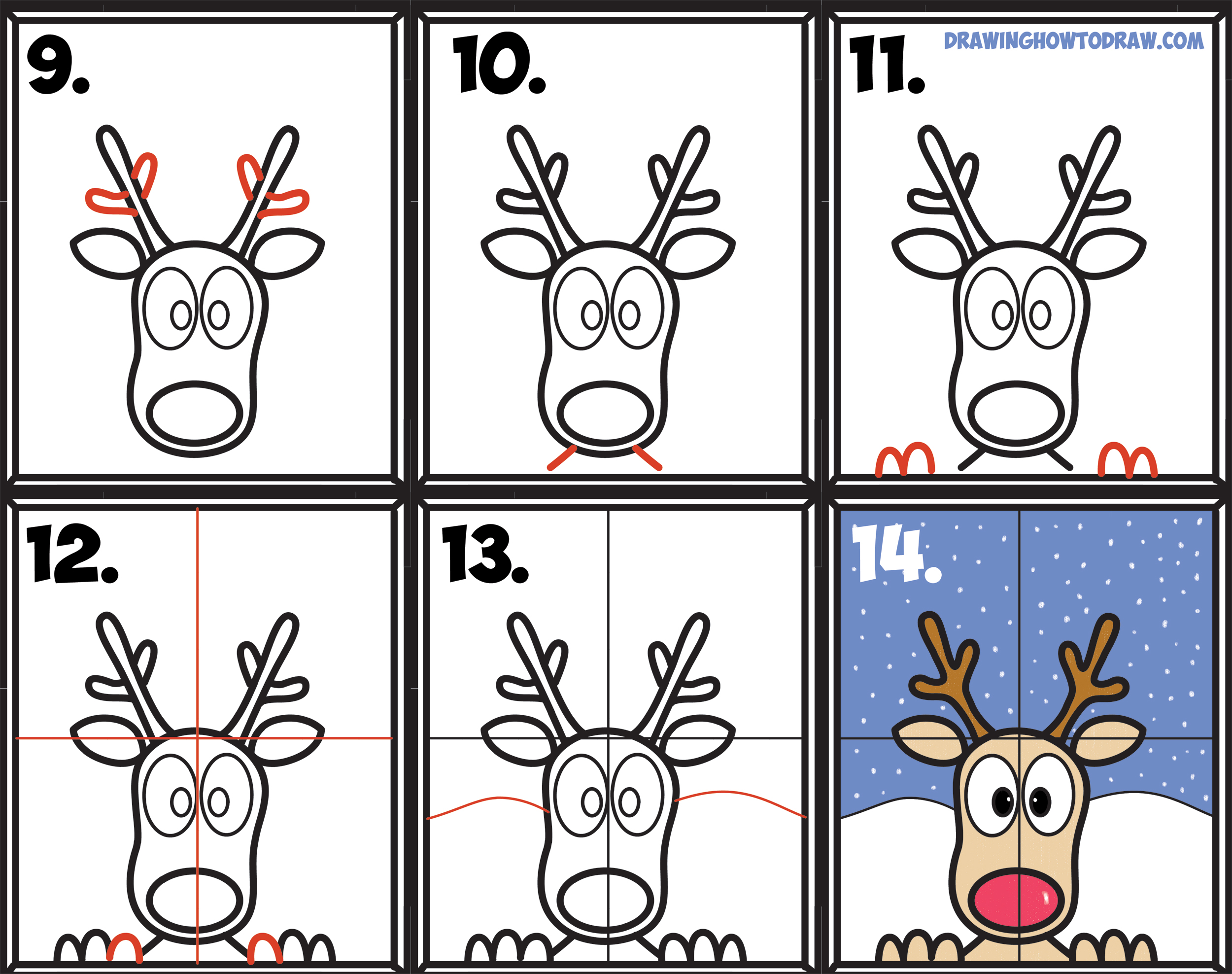 how to draw a reindeer step by step realistic