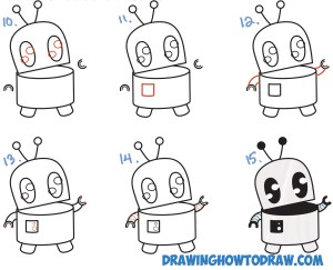 robot easy drawing cartoon draw step beginners drawings shapes lesson tutorial simple steps drawinghowtodraw lessons letters tutorials numbers learn