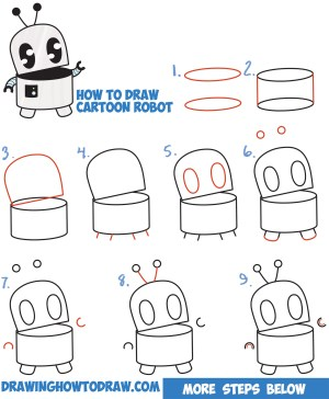 robot step drawing easy cartoon draw beginners drawings robots tutorial shapes cartoons tutorials simple drawinghowtodraw steps letters kid tips characters