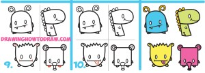 monsters drawing cartoon shapes letters simple draw step numbers easy tutorials drawinghowtodraw geometric learn instructions written getdrawings
