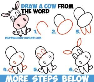 cow draw step easy drawing cartoon word kawaii simple tutorial drawings chibi toon words steps drawinghowtodraw tutorials cows learn monkey