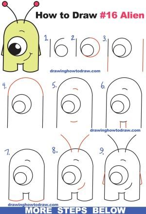 step alien easy draw drawing cartoon tutorial drawings beginners aliens cool numbers drawinghowtodraw cartoons sketches tutorials animals simple kid steps