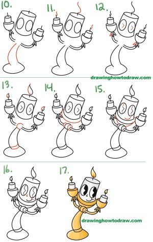 easy drawings draw drawing beast beauty kawaii step lumiere tutorial chibi beginners simple steps lesson disney children monster cartoon learn