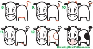 draw step easy drawing cartoon cow kawaii simple beginners tutorial animals steps drawinghowtodraw letters learn children getdrawings