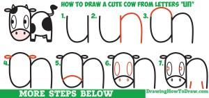 cow draw step easy drawing cartoon kawaii simple tutorial beginners drawinghowtodraw letters drawings steps tutorials children lesson words getdrawings doodle