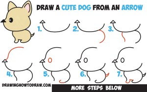 step draw dog easy puppy drawing dogs cartoon kawaii arrow tutorial simple drawings steps drawinghowtodraw letters anime beginners words tutorials