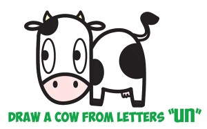 cow drawing cartoon draw simple kawaii easy step letters drawings cows steps children animals animal tutorial drawinghowtodraw tutorials nef atot