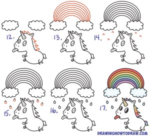 unicorn step draw easy drawing kawaii rainbow tongue tutorial drawings steps under simple chibi drawinghowtodraw beginners getdrawings clouds pages learn