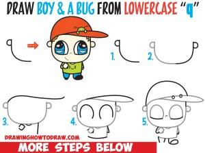 boy draw step easy drawing simple hat chibi beginners bug baseball drawings steps tutorial children drawinghowtodraw lesson cartoon word learn