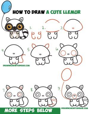 step beginners draw easy drawing cartoon kawaii tutorial chibi drawings animals lemur steps simple tutorials drawinghowtodraw sketches cartoons doodle children